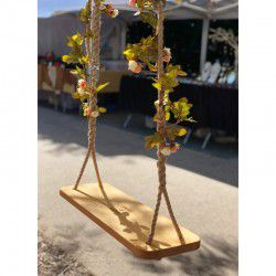 wooden swing with flowers