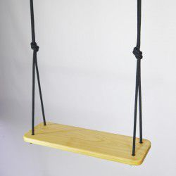 wooden swing black rope